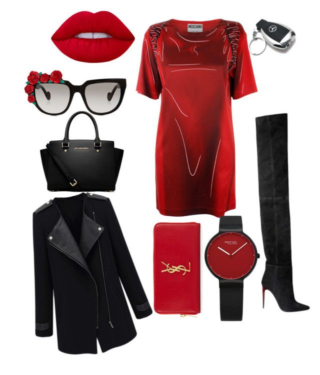 """""""Red & Black"""" by boipelo-johny on Polyvore featuring Moschino, Balmain, Mercedes-Benz, Anna-Karin Karlsson, Lime Crime, MICHAEL Michael Kors and Yves Saint Laurent"""