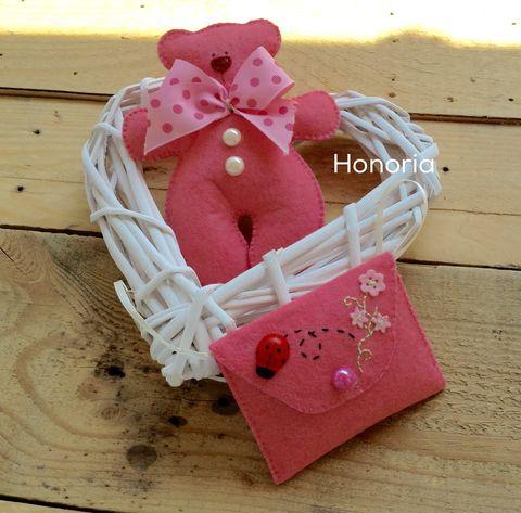 Rózsaszín maci, levendulás táskával (Honoria) - Meska.hu
