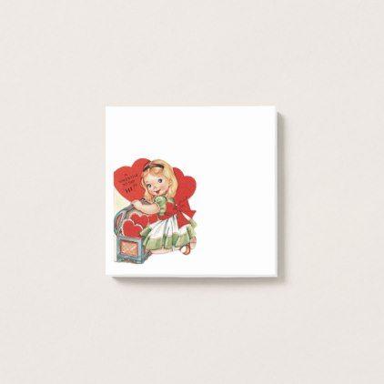 Vintage Valentine Girl Post-it Notes | Zazzle.com