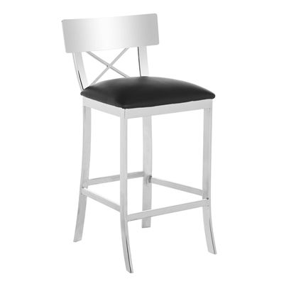 Safavieh FOX203 Zoey Stainless Steel and Faux Leather Cross Back Bar Stool