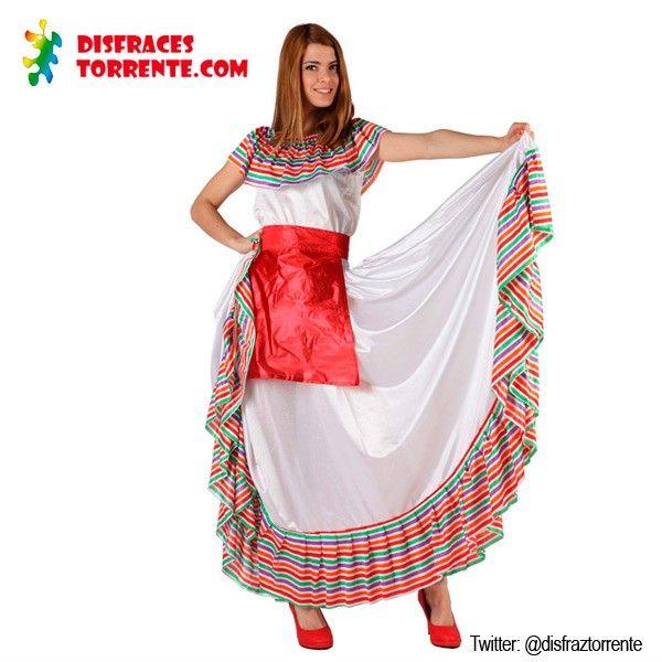 Disfraz de Mejicana para mujer. Típico y vistoso Disfraz de Mejicana con el que serás la más pinche del corrio.