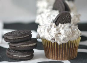 Chocolate Cupcake with Fluffy Buttercream Frosting (Oreos optional - and yes, Oreos are vegan!) http://www.chow.com/recipes/10794-basic-vegan-chocolate-cupcake