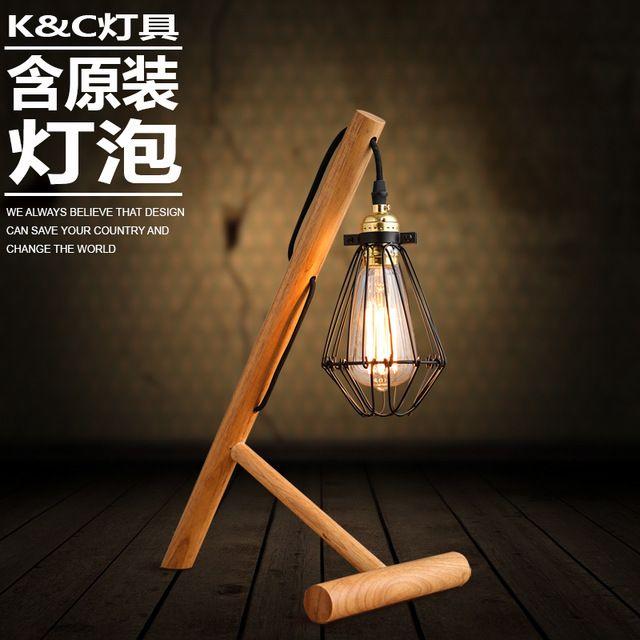 Moderne minimalistische houtblokken voet edison lamp lamp schaduw tafellamp kleine ijzeren kooien