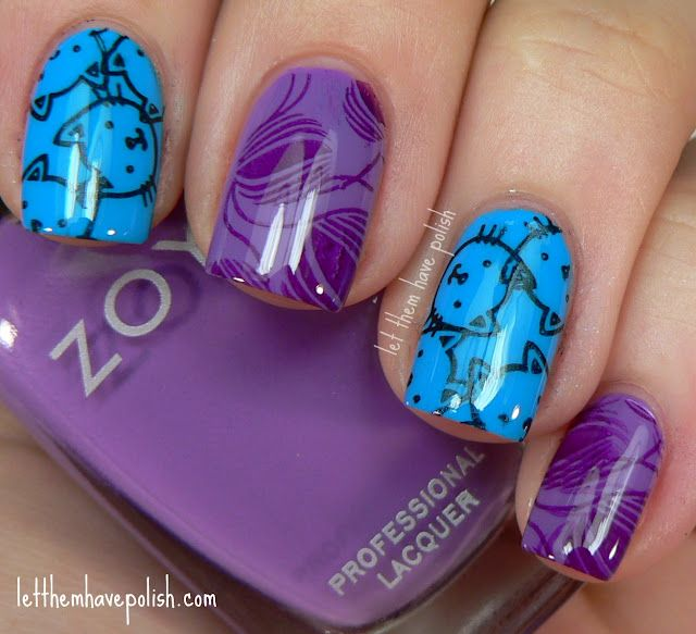 Blue and purple #cats #nails #manicure