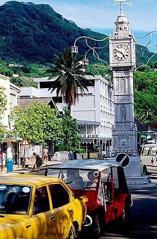 The Clock Tower at Victoria City, Mahe Island, Seychelles