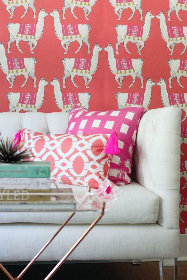 powder room wallpaper, nursery wallpaper, girl's room wallpaper, feature wall wallpaper, llama wallpaper, bedroom wallpaper, bathroom wallpaper