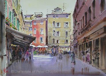 'Back Street, Venice', watercolour on paper,  image size 52 cm x 72 cm,  framed size 81 cm x 98 cm  $1800.  ©The estate of Peter Chaplin.   All rights reserved