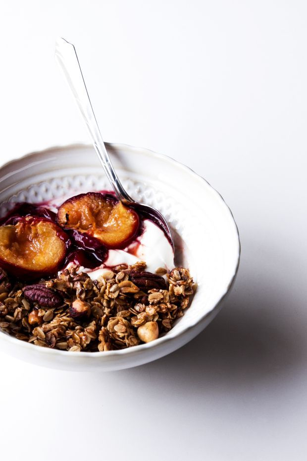 pecan granola with roasted plums