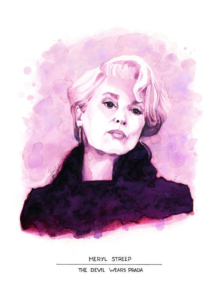 Retrato de Miranda Presley (Meryl Streep) en El diablo viste de Prada. (aguada)