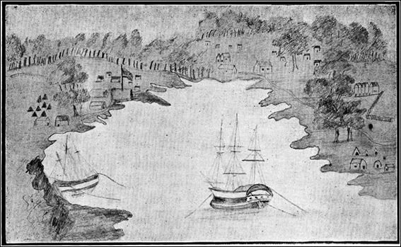 THE FIRST PICTURE OF SYDNEY IN 1788. This is a reproduction of what was probably the first sketch ever made of Circular Quay and the beginning of the city of Sydney. It was drawn by Captain John Hunter on August 20, 1788, seven months after the first landing here. The path on the right is the George street North of to-day. The building close to the fence behind the trees on the right is the first hospital. The path ended about what is now the intersection of George Essex sts.