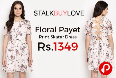 StalkBuyLove is offering Floral Payet Print Skater Dress Only Rs.1349. Sexy back is back! Challenge those curves to the best they can do with the Floral Payet dress that has all the sexy jam packed in it with the best fit and the soft cotton fabric in the skater dress. Features: Partially lined, Lace up panel at back, Viscose Material, Woven, Fit: Regular.  http://www.paisebachaoindia.com/floral-payet-print-skater-dress/