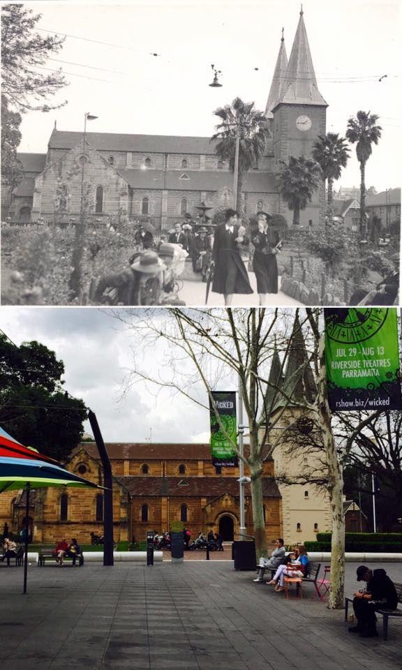 St Johns Church, Parramatta, 1:45pm 1938 > 1:45pm 2016. [State Library NSW…