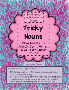 This tricky noun packet includes 40 different irregular noun forms with their matching plurals for a total of 80 cards. This is a really fun unit, especially the card match.  My kids actually raced to see how many they could get.