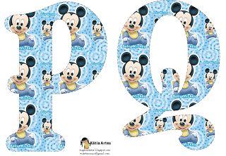 Alfabeto de Mickey Bebé en fondo celeste. | Oh my Alfabetos!