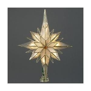"""10"""" Gold Capiz Star of Bethlehem with Gem Christmas Tree Topper - Clear Lights......$30 one"""