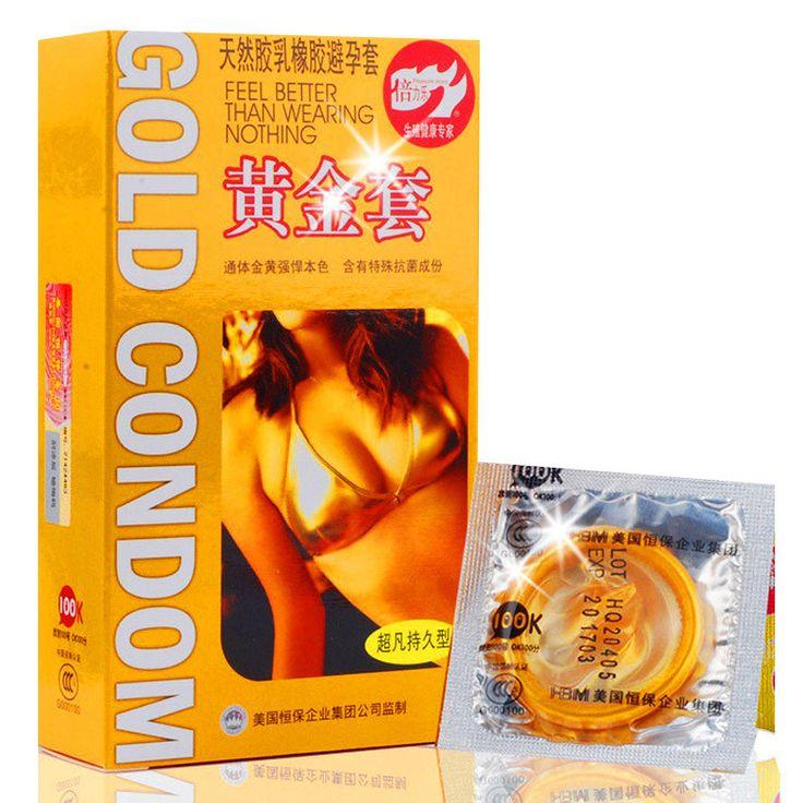 10pc. Gold Long Lasting Delay Latex Condom With Big Seminal Cavity