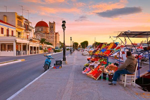 At the port promenade in Aegina Town