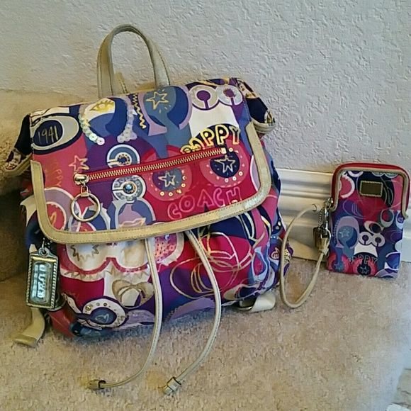 Poppy backpack, wristlet/wallet case, sneakers set **S*A*L*E** Bag and wristlet only. All authentic. The gold is wearing off the back pack and a lot more so off the wristlet phone/camera tech case. The tags are greying and the vibrant gold trim and wording are wearing off. This is my fav coach pattern. The wristlet canNOT fit a note 3 or iphone 6. Pop c. Pink, blue, purple. Pen marks and some signs of wear. See pics coach  Bags Backpacks