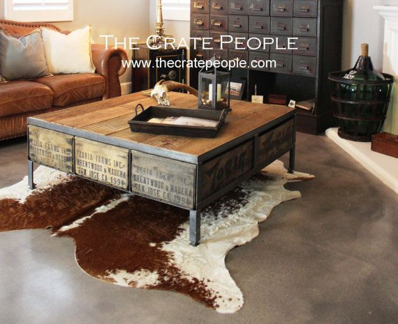 Industrial coffee table; barn wood, metal, vintage wood crates   Square Coffee Table  Reclaimed Furniture using by FoundInAttic