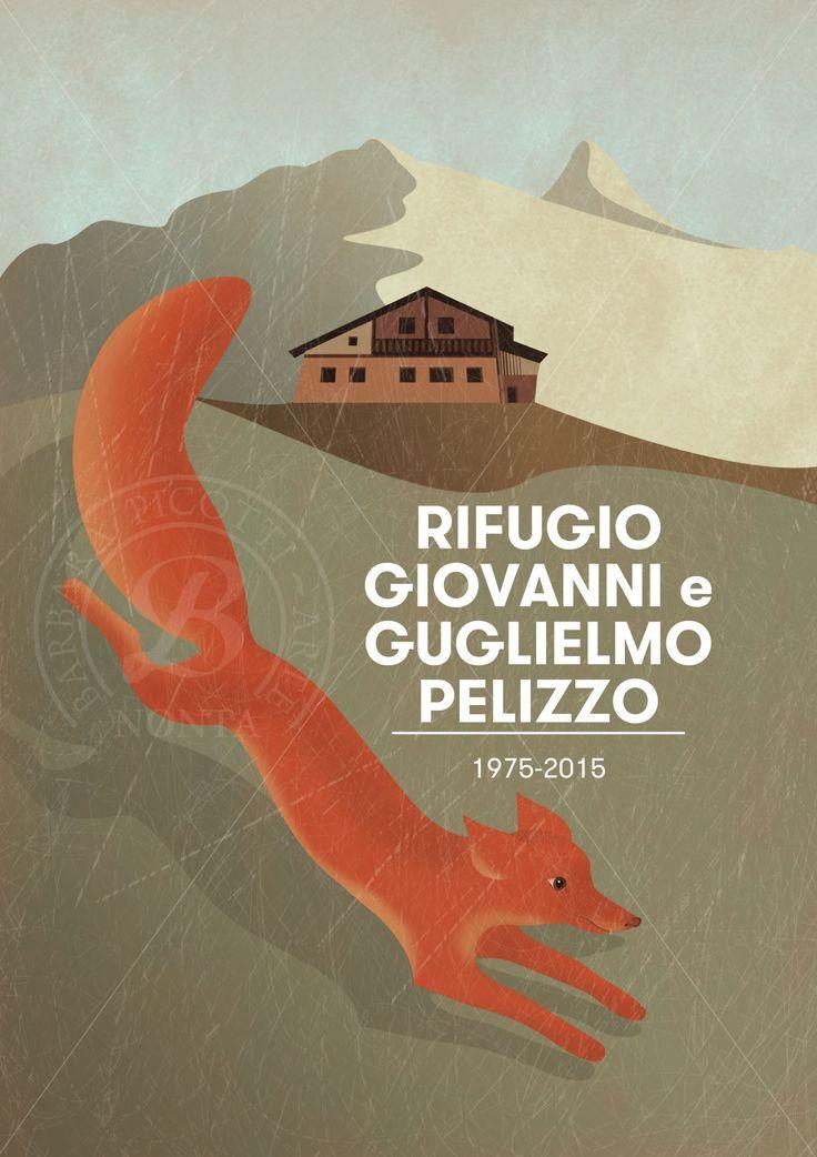 Barbara Picotti Arte: Postcard. 40° Anniversario Rifugio  Pelizzo. Client: C.A.I. (Club Alpino Italiano). Art director: Nicoletta Zattra. Illustration: Barbara Picotti. Artwork: Nicoletta Zattra