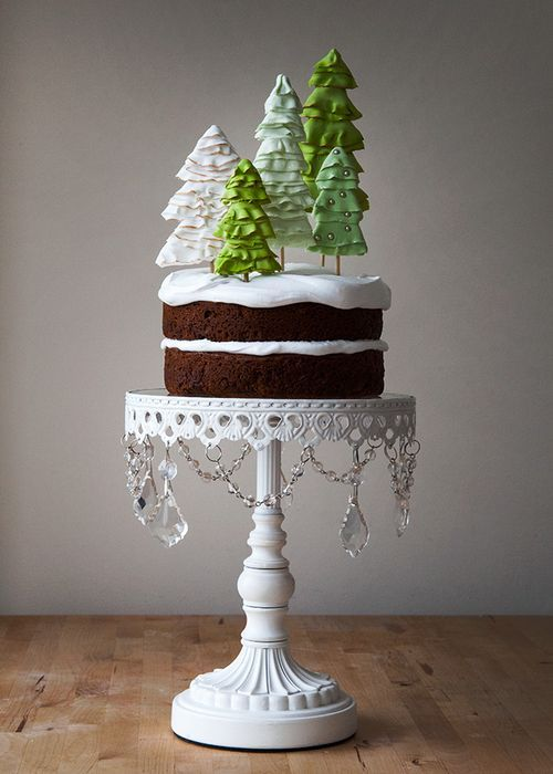 Holiday Winter Wonderland Cake: saw this and was inspired to make tree cookies on sticks to decorate a cake. The ones on this cake are edible and exquisite, but more elaborate to make than cookies.