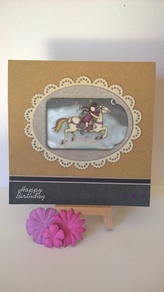 Handmade girl on horse birthday card by Lazymitts on Etsy