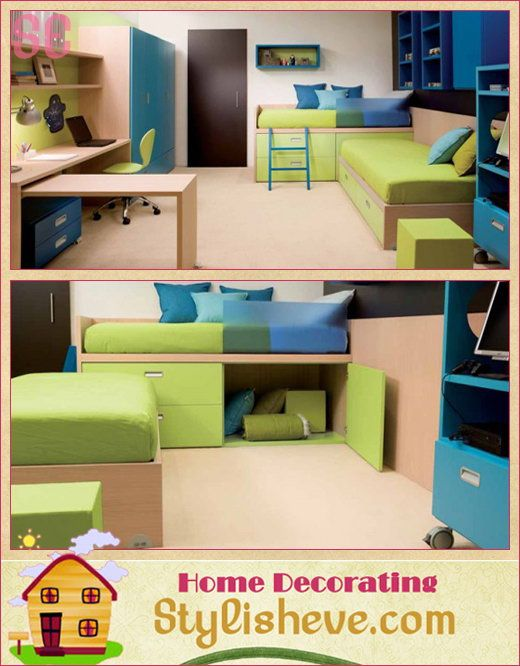 Kids need lots of storage for their toys and keepsakes, even in a small room. #kids #bedroom #storage