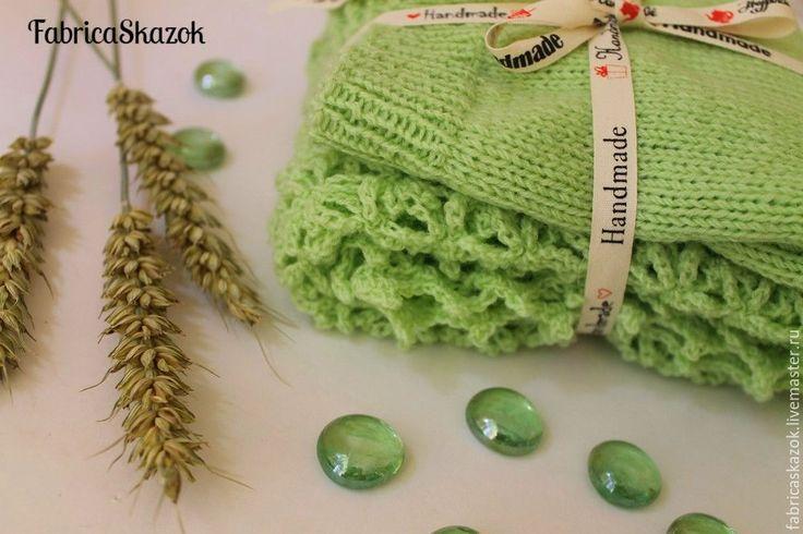 Купить Вязаный комплект. Шапка и шарф-снуд - ярко-зелёный, шапка вязаная, шапка
