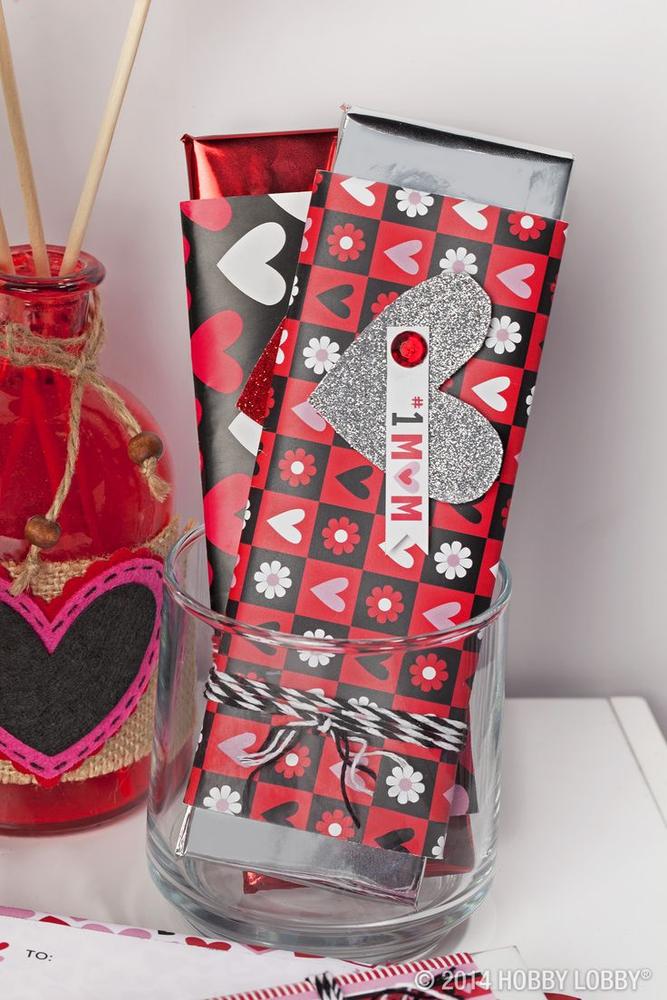 Wrap candy bars in Valentine's Day inspired wrapping paper for a special touch and an easy gift.