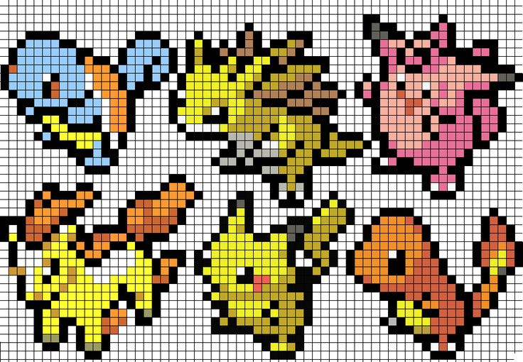 As I'm having a row of Pokemon posts here is an easy pattern sheet for kids bead works. These sprites are from the Pokemon Elite 2000 site. They are selected from the Diamond/Perl Pokemon icon spri...