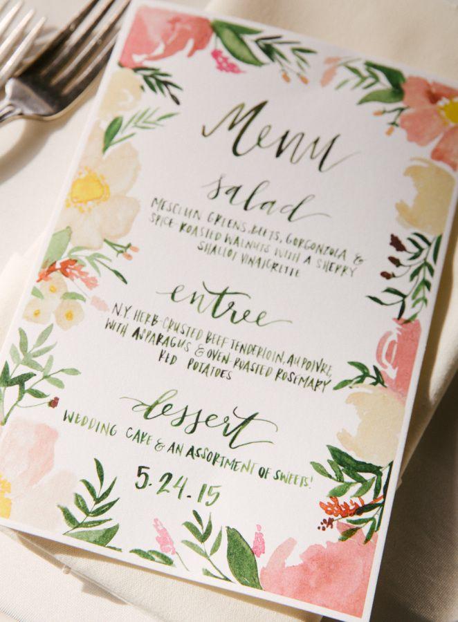Floral + calligraphy menus: http://www.stylemepretty.com/new-york-weddings/2016/01/08/whimsical-woodland-wedding-in-the-catskills/ | Photography: Karen Hill - http://www.karenhill.com/