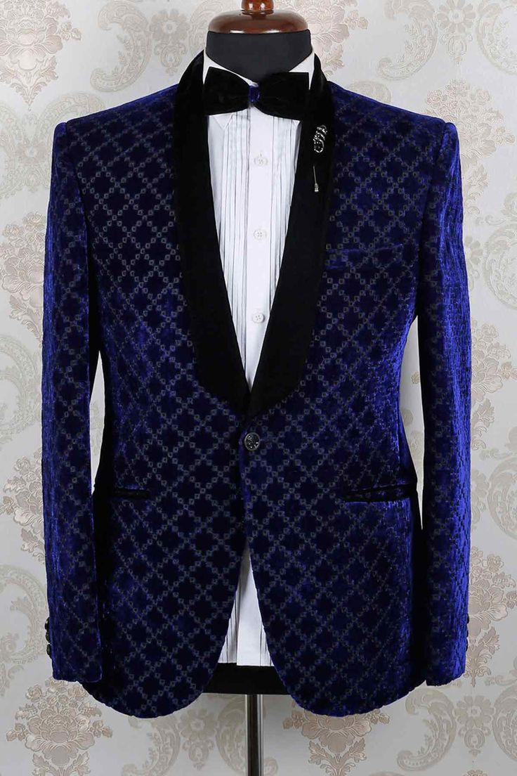 #Blue #velvet slim fit discerning embroidered suit with shawl lapel -ST399. FREE shipping world wide.