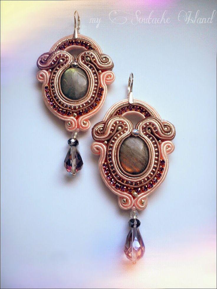 Labradorite dusty pink, taupe soutache earrings