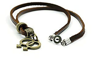 BrownBeans, Retro Gay Symbol LGBT Pride Leather Necklace (LNKT1080) (18 Inches) | Amazon.com