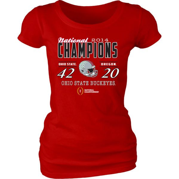 Ohio State Buckeyes Juniors 2014 College Football Playoff National Champions Defeating Dyed Score T-Shirt - Scarlet - $12.99