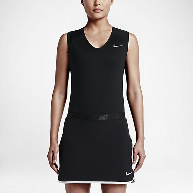 Nike Women's Greens Sleeveless Top Dri-Fit technology  Stretch  Feminine, v-neckline in a sleeveless silhouette for versatility  Body : 87% polyester/13% spandex  Black $55.00
