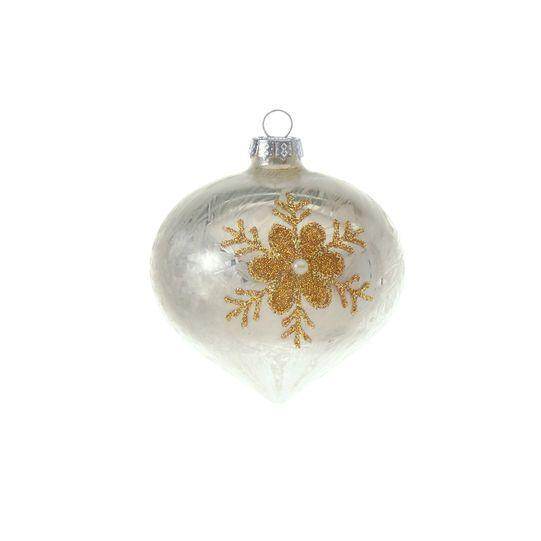 Cipolla in vetro effetto spazzolato bianco con decorazione fiore in glitter e microsfere finitura dorata. Perla al centro. Rifinito a mano. Diametro: 8cm. Venduto X 6.