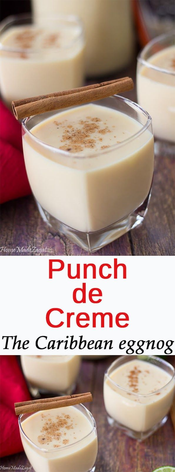 Ponche de Creme (Punch ah creme) is a popular Christmas drink that is often compared to eggnog. This Caribbean drink is a creamy alcoholic concoction infused with citrus and nutmeg.