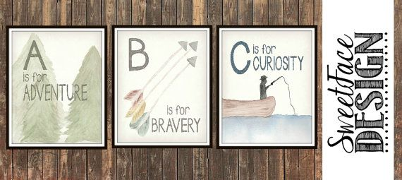 NSTANT DOWNLOAD Set of 3 Rustic Alphabet watercolor art, typographic print. Rustic baby, nursery decor, new baby gift, mom-to-be present by SweetFaceDesign, $15.00