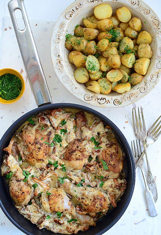Kurczak z kurkami z jednej patelni - lepszego nie znam :)