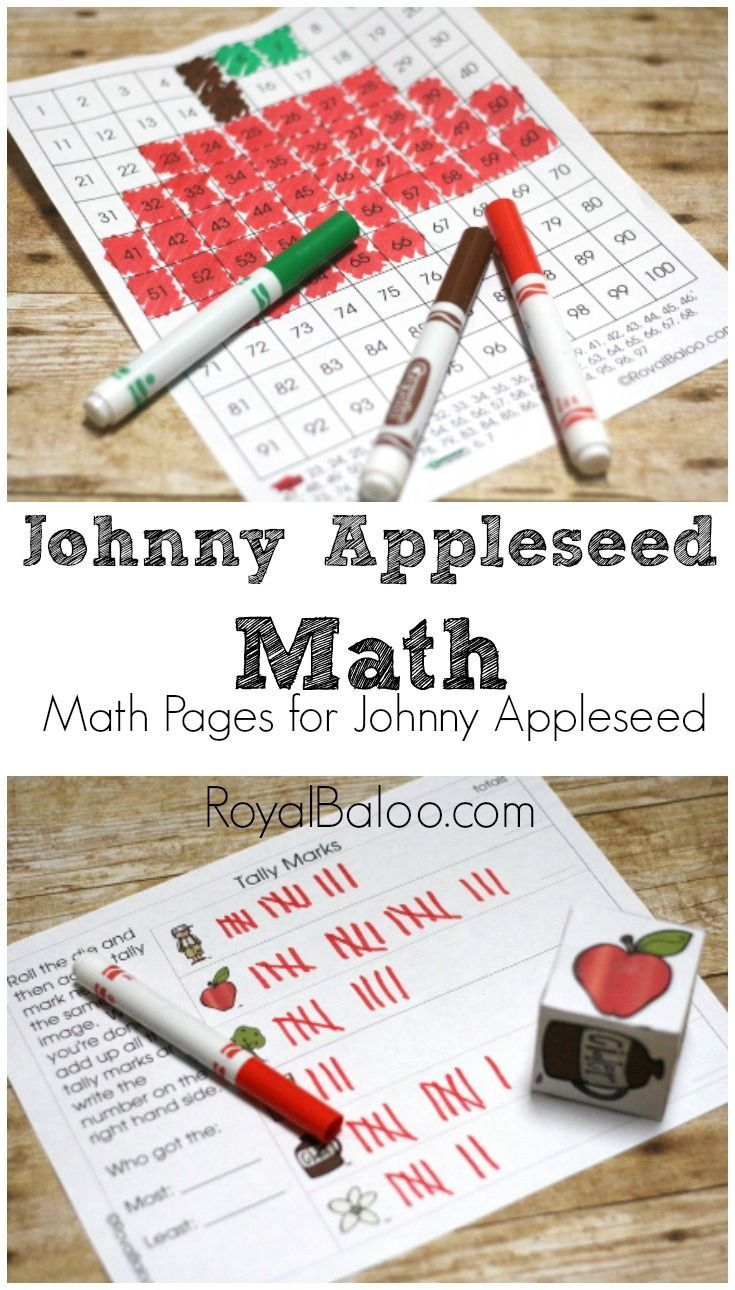 Free Johnny Appleseed Math to go along with a Johnny Appleseed Unit (and…