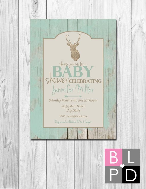 Rustic Deer Baby Shower Invitation - Burlap Deer Wood Background - Tan Cream and Blue Green - DIY - Printable