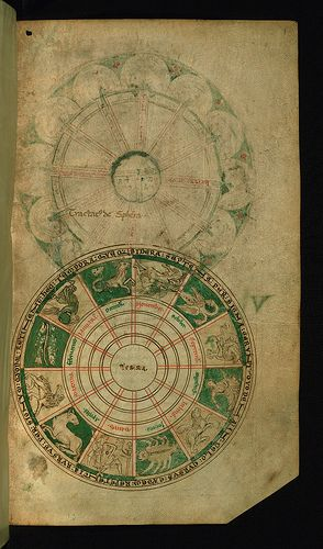 Illuminated Manuscript, Compendium of computistical texts, Diagram of the Zodiac. Created in England in the late twelfth century, this manuscript was intended to be a scientific textbook for monks. The manuscript is brief at nine folios, and was designed as a compendium of cosmographical knowledge drawn from early Christian writers such as Bede and Isidore, as well as the later Abbo of Fleury.