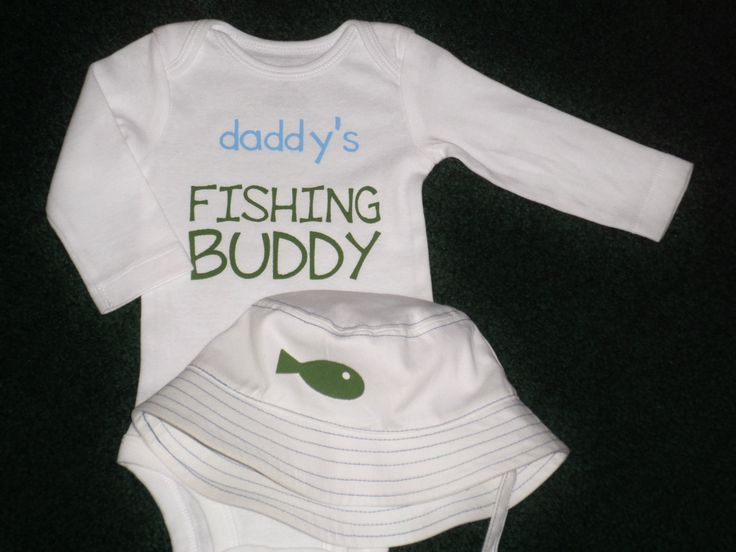 Daddy's Fishing Buddy Bodysuit Gift Set With Matching Fishing Hat - Fishing Hat For Baby Boys - White Fishing Buddy Romper With Matching Hat by SugarBearHair on Etsy