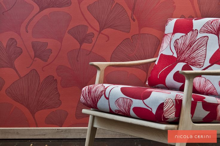 Ginkgo Red Wallpaper, Ginkgo Red Fabric, www.nicolacerini.com
