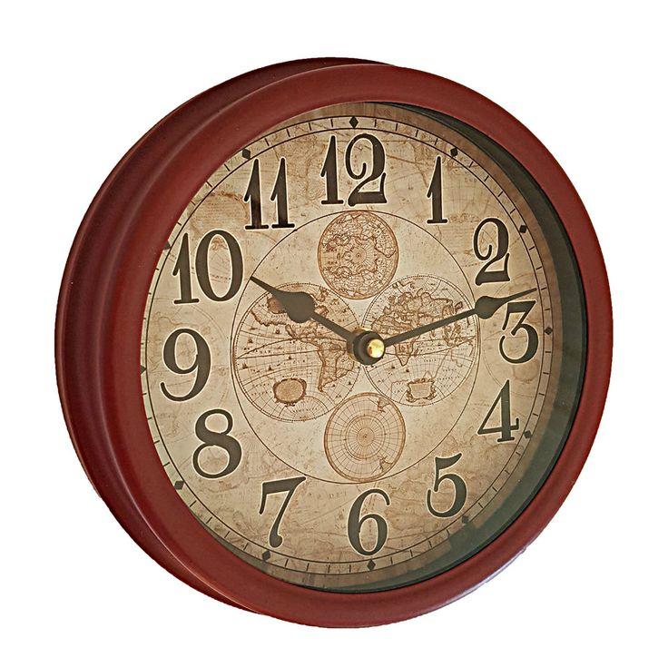 Ceas decorativ perete grena decorat cu globuri pamantesti vintage si cifre arabe. Comanda ceas decorativ perete pe aa-design-interior.ro.