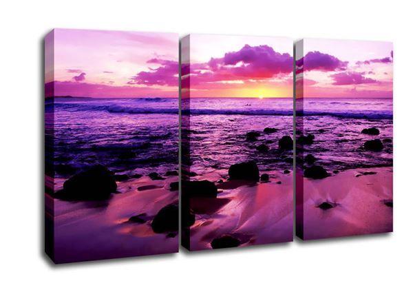 Purple Ocean Sunrise Rocks Canvas Art Art 3 Panel Wall Art