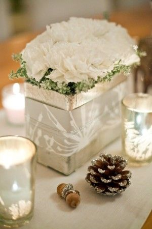 Holiday decorations in white and silvers with custom wrapped vases by Beautiful Days. photos by Marina DeMarco for luminalife.com