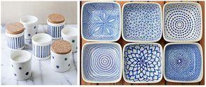 DIY Ceramica pintada a mano plato y tarros azul