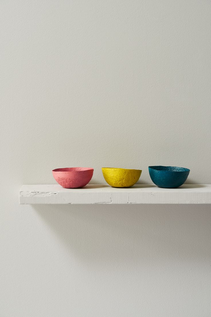 These beautiful, handpainted bowls are handmade entirely from recycled newspapers in Swaziland.